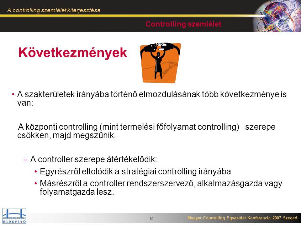 Magyar Controlling Egyesület Konferencia 2007 Szeged A controlling szemlélet kiterjesztése - 19 - Következmények A szakterületek irányába történő elmo