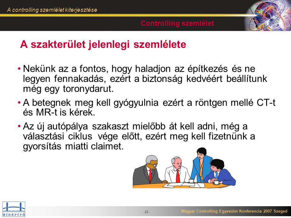 Magyar Controlling Egyesület Konferencia 2007 Szeged A controlling szemlélet kiterjesztése - 22 - A szakterület jelenlegi szemlélete Nekünk az a fonto
