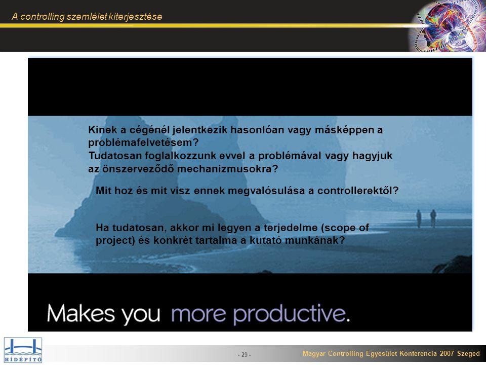 Magyar Controlling Egyesület Konferencia 2007 Szeged A controlling szemlélet kiterjesztése - 29 - Kinek a cégénél jelentkezik hasonlóan vagy másképpen