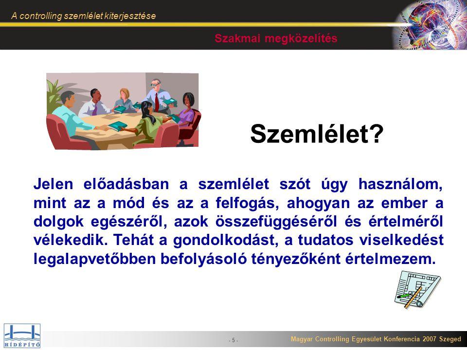 Magyar Controlling Egyesület Konferencia 2007 Szeged A controlling szemlélet kiterjesztése - 6 - A szemlélet tulajdonságai (1) Valamely személy legalapvetőbb nézete az őt körülvevő dolgokról, személyekről eseményekről, általában véleményalkotás közben ehhez viszonyít Meghatározza: – a cselekedeteket – a beszédet – a gondolkodást Nehéz megváltoztatni Mi a controlling szemlélet.