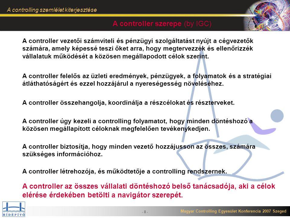 Magyar Controlling Egyesület Konferencia 2007 Szeged A controlling szemlélet kiterjesztése - 19 - Következmények A szakterületek irányába történő elmozdulásának több következménye is van: A központi controlling (mint termelési főfolyamat controlling) szerepe csökken, majd megszűnik.