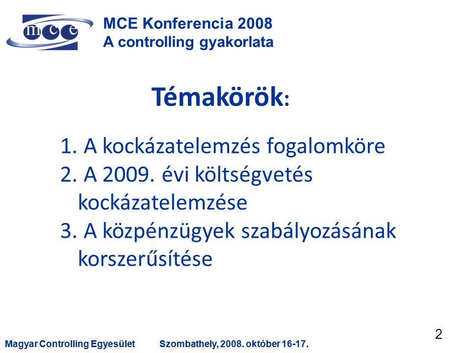 Magyar Controlling EgyesületSzombathely, 2008. október 16-17.Magyar Controlling EgyesületSzombathely, 2008. október 16-17. 2 MCE Konferencia 2008 A co