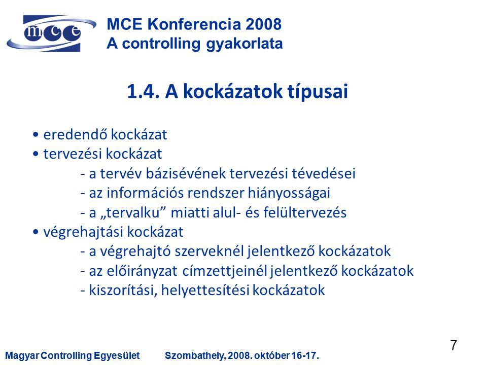 Magyar Controlling EgyesületSzombathely, 2008. október 16-17.Magyar Controlling EgyesületSzombathely, 2008. október 16-17. 7 MCE Konferencia 2008 A co