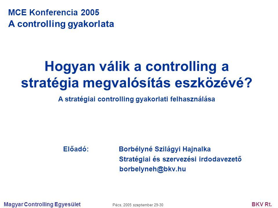 Magyar Controlling Egyesület Pécs, 2005 szeptember 29-30 BKV Rt. MCE Konferencia 2005 A controlling gyakorlata Hogyan válik a controlling a stratégia