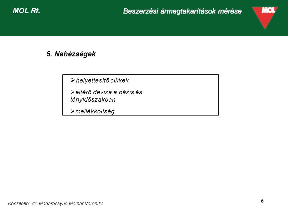 Készítette: dr. Madarassyné Molnár Veronika 6 Beszerzési ármegtakarítások mérése MOL Rt.  helyettesítő cikkek  eltérő deviza a bázis és tényidőszakb