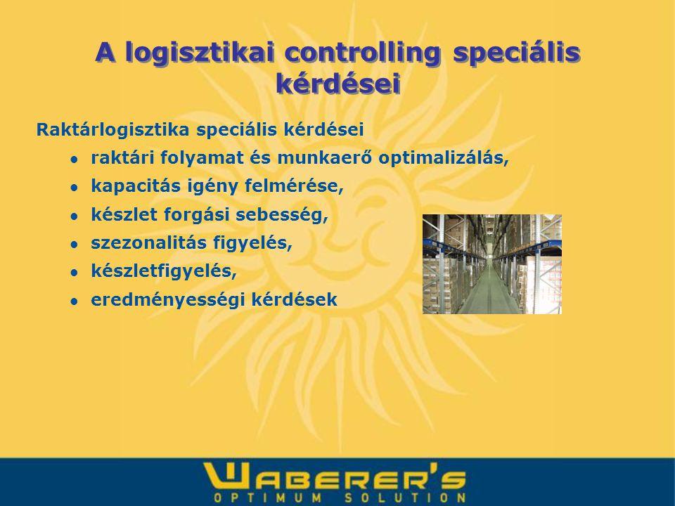 Raktárlogisztika speciális kérdései raktári folyamat és munkaerő optimalizálás, kapacitás igény felmérése, készlet forgási sebesség, szezonalitás figy