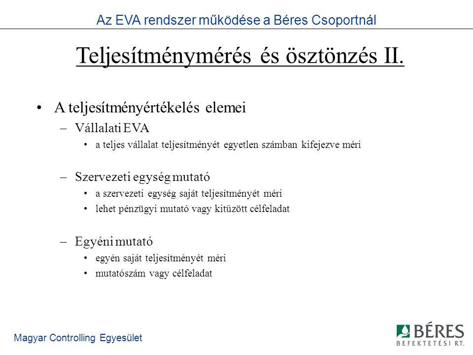 Magyar Controlling Egyesület EVA alapfogalmak Az EVA fogalma –Adott időszakban a befektetett tőke elvárt hozama felett elért adózott működési eredmény Számítása –EVA = EBIT * (1-T) – WACC * (D+E) EBIT = Üzemi eredmény T= effektív adókulcs WACC= súlyozott átlagos tőkeköltség (D+E) = befektetett tőke Az EVA rendszer működése a Béres Csoportnál