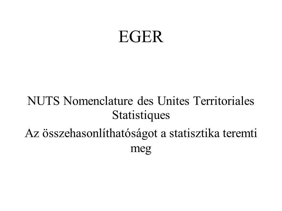 NUTS Nomenclature des Unites Territoriales Statistiques Az összehasonlíthatóságot a statisztika teremti meg