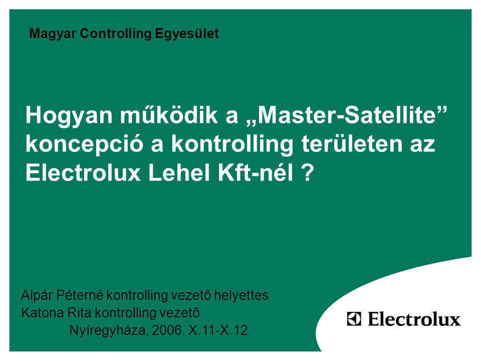 """Hogyan működik a """"Master-Satellite koncepció a kontrolling területen az Electrolux Lehel Kft-nél ."""