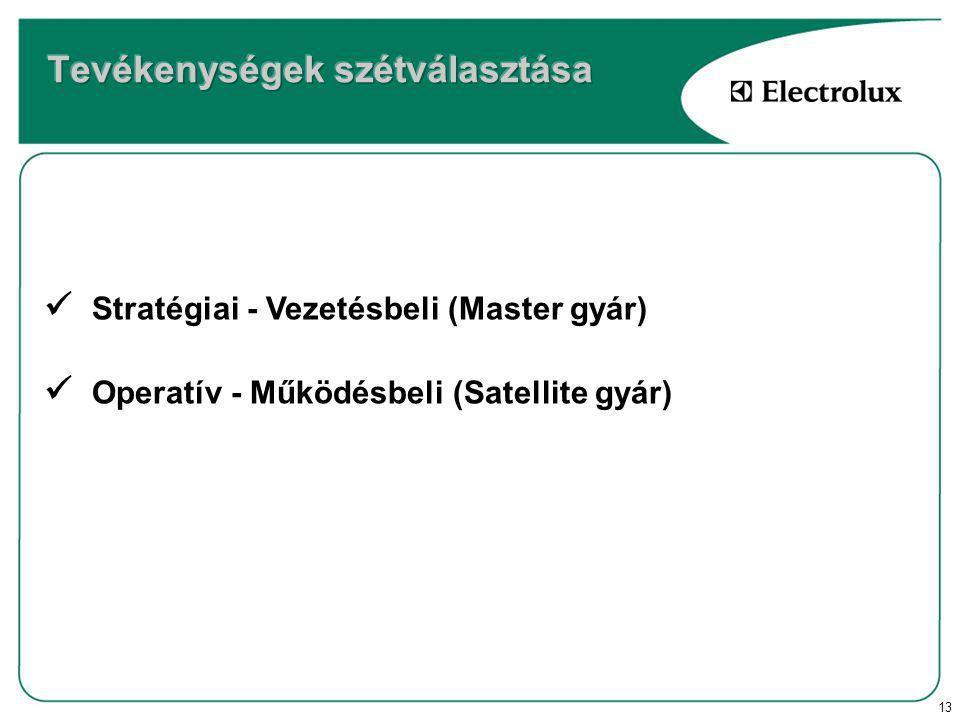 13 Stratégiai - Vezetésbeli (Master gyár) Operatív - Működésbeli (Satellite gyár)