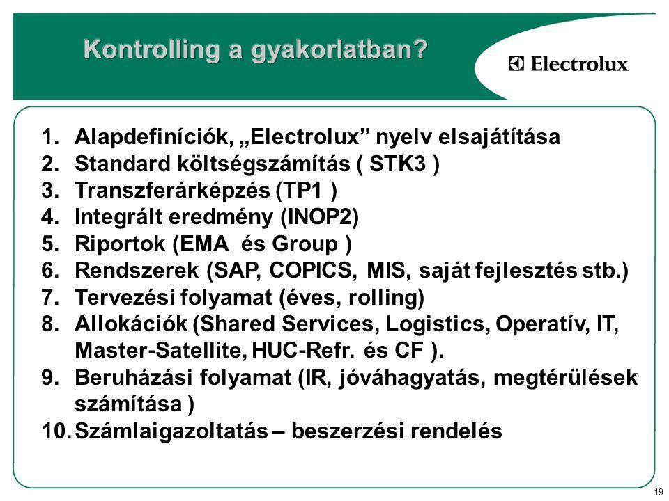 """19 1.Alapdefiníciók, """"Electrolux nyelv elsajátítása 2.Standard költségszámítás ( STK3 ) 3.Transzferárképzés (TP1 ) 4.Integrált eredmény (INOP2) 5.Riportok (EMA és Group ) 6.Rendszerek (SAP, COPICS, MIS, saját fejlesztés stb.) 7.Tervezési folyamat (éves, rolling) 8.Allokációk (Shared Services, Logistics, Operatív, IT, Master-Satellite, HUC-Refr."""