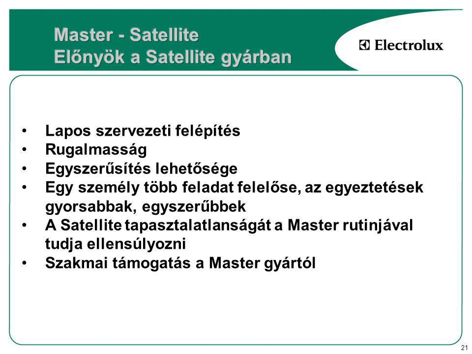 21 Lapos szervezeti felépítés Rugalmasság Egyszerűsítés lehetősége Egy személy több feladat felelőse, az egyeztetések gyorsabbak, egyszerűbbek A Satellite tapasztalatlanságát a Master rutinjával tudja ellensúlyozni Szakmai támogatás a Master gyártól