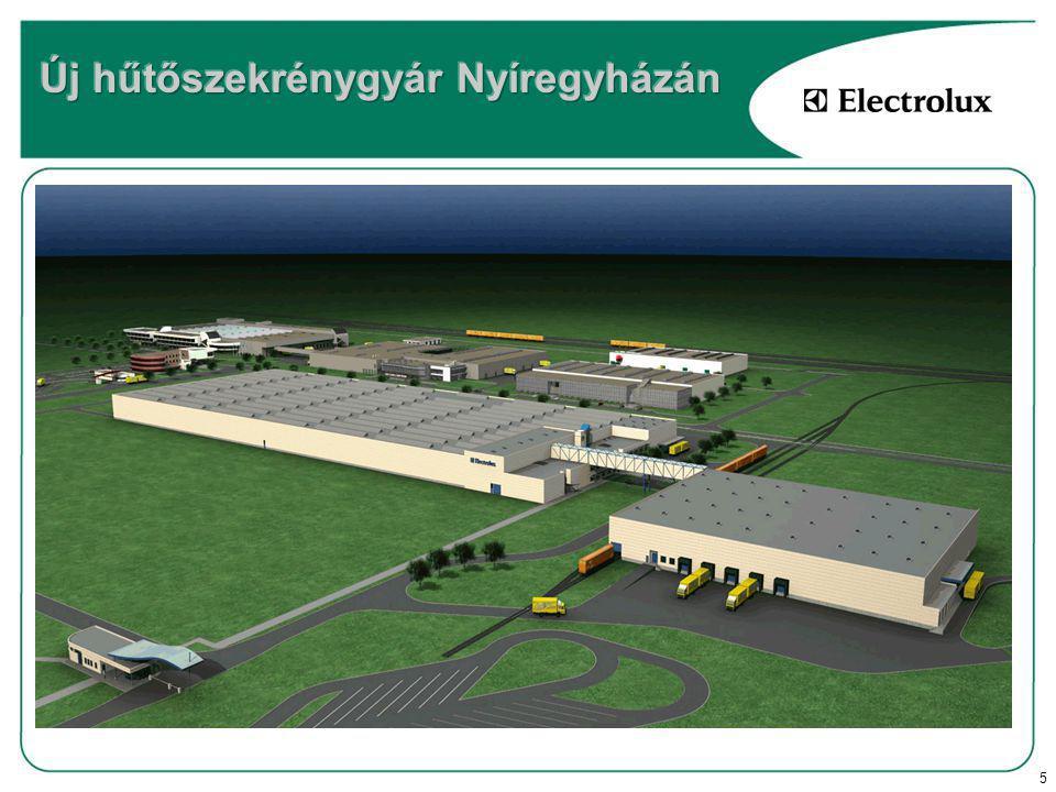 5 85 millió EUR beruházás 47.000 m 2 termelési terület 14.000 m 2 készáru raktár 840.000 darab hűtőszekrény évente 3 szerelősor + alkatrészgyártás 1600 főt meghaladó foglalkoztatotti létszám
