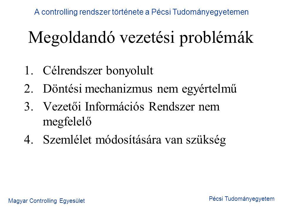 A controlling rendszer története a Pécsi Tudományegyetemen Magyar Controlling Egyesület Pécsi Tudományegyetem Információs rendszer Konkrét terület lépésenként Általános, centralizált Meglévő adatok átalakításával
