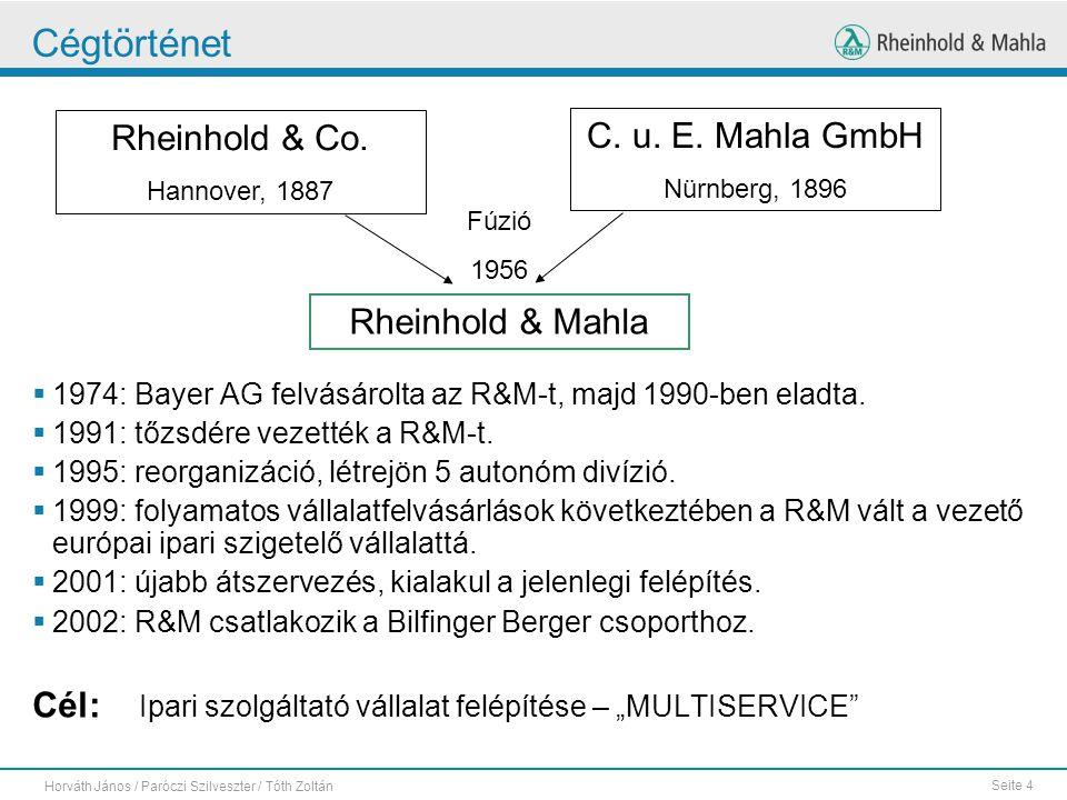 Seite 4 Horváth János / Paróczi Szilveszter / Tóth Zoltán Cégtörténet  1974: Bayer AG felvásárolta az R&M-t, majd 1990-ben eladta.  1991: tőzsdére v