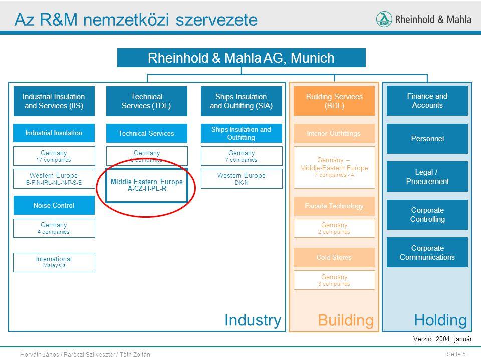 Seite 5 Horváth János / Paróczi Szilveszter / Tóth Zoltán Az R&M nemzetközi szervezete Verzió: 2004. január IndustryHolding Building Rheinhold & Mahla
