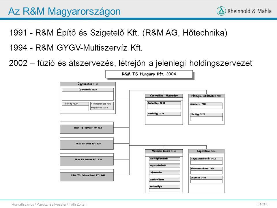 Seite 6 Horváth János / Paróczi Szilveszter / Tóth Zoltán Az R&M Magyarországon 1991 - R&M Építő és Szigetelő Kft. (R&M AG, Hőtechnika) 1994 - R&M GYG