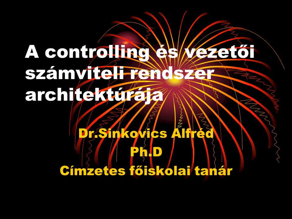 A controlling és vezetői számviteli rendszer architektúrája Dr.Sinkovics Alfréd Ph.D Címzetes főiskolai tanár