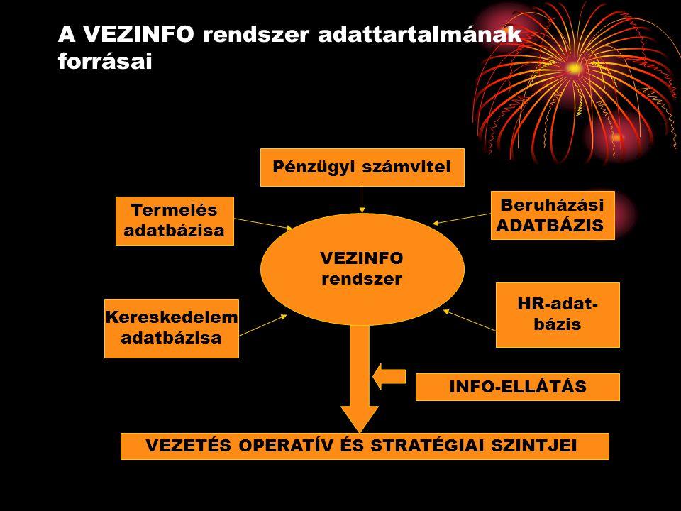 A VEZINFO rendszer adattartalmának forrásai VEZINFO rendszer Pénzügyi számvitel Beruházási ADATBÁZIS HR-adat- bázis Termelés adatbázisa Kereskedelem a