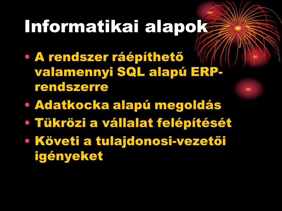 Informatikai alapok A rendszer ráépíthető valamennyi SQL alapú ERP- rendszerre Adatkocka alapú megoldás Tükrözi a vállalat felépítését Követi a tulajd
