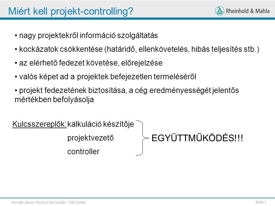 Seite 1 Horváth János / Paróczi Szilveszter / Tóth Zoltán Miért kell projekt-controlling.