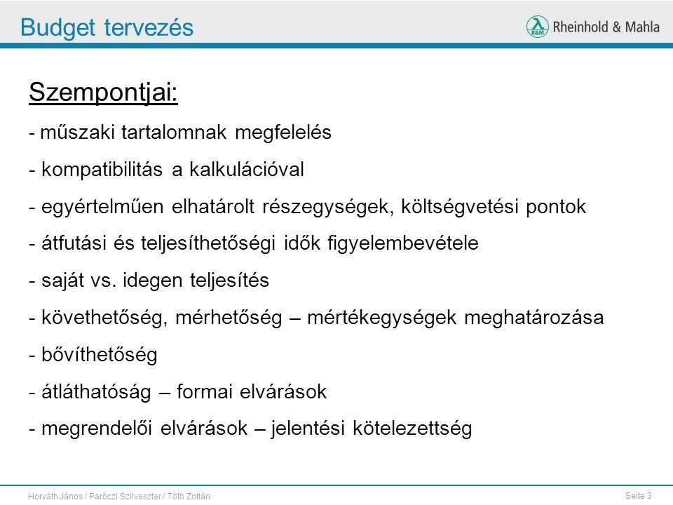 Seite 3 Horváth János / Paróczi Szilveszter / Tóth Zoltán Budget tervezés Szempontjai: - műszaki tartalomnak megfelelés - kompatibilitás a kalkulációv