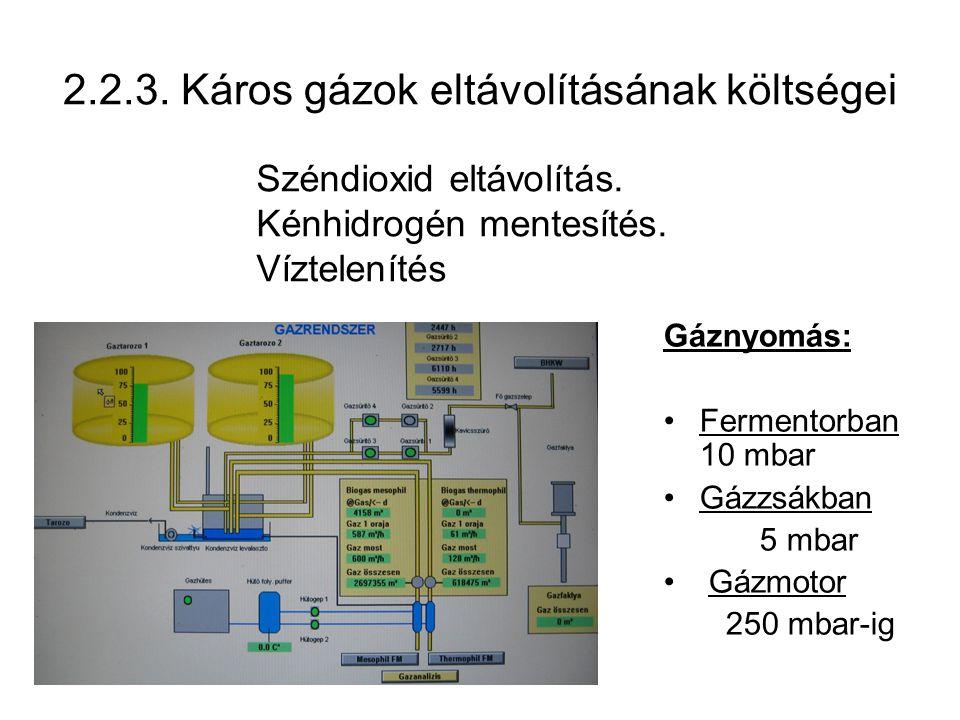 2.2.3. Káros gázok eltávolításának költségei Gáznyomás: Fermentorban 10 mbar Gázzsákban 5 mbar Gázmotor 250 mbar-ig Széndioxid eltávolítás. Kénhidrogé