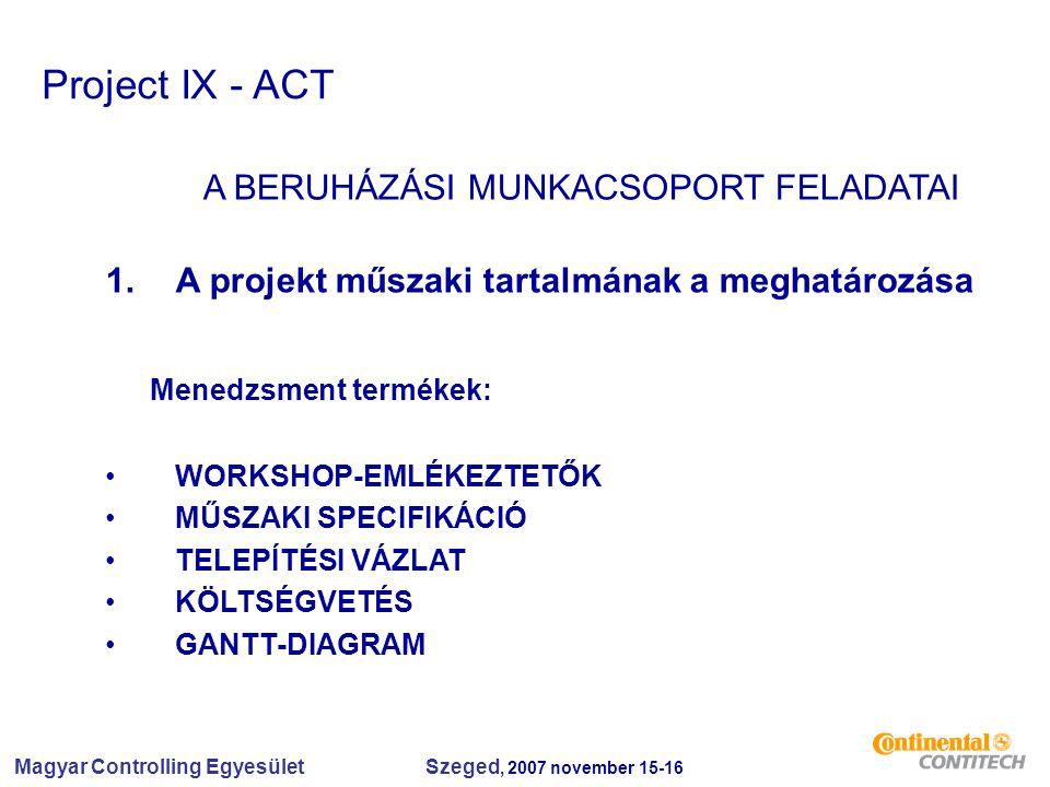 Magyar Controlling Egyesület Szeged, 2007 november 15-16 Project IX - ACT A BERUHÁZÁSI MUNKACSOPORT FELADATAI 1.A projekt műszaki tartalmának a meghatározása Menedzsment termékek: WORKSHOP-EMLÉKEZTETŐK MŰSZAKI SPECIFIKÁCIÓ TELEPÍTÉSI VÁZLAT KÖLTSÉGVETÉS GANTT-DIAGRAM