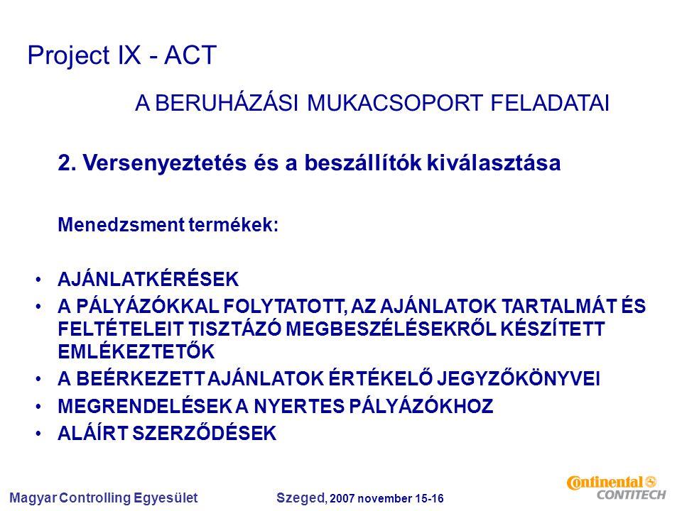 Magyar Controlling Egyesület Szeged, 2007 november 15-16 Project IX - ACT A BERUHÁZÁSI MUKACSOPORT FELADATAI 2. Versenyeztetés és a beszállítók kivála