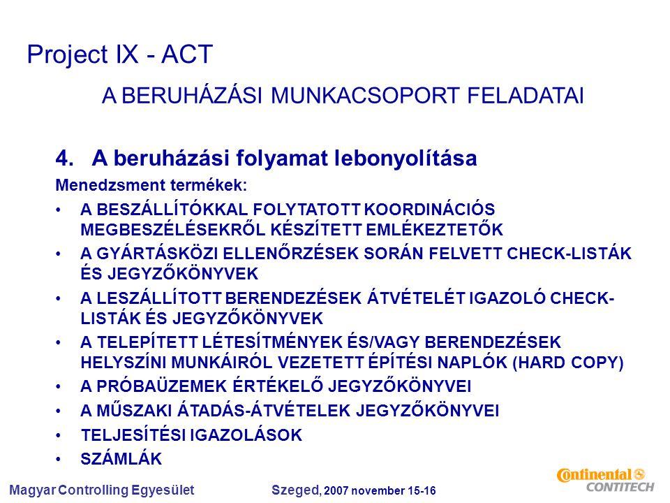 Magyar Controlling Egyesület Szeged, 2007 november 15-16 Project IX - ACT A BERUHÁZÁSI MUNKACSOPORT FELADATAI 4. A beruházási folyamat lebonyolítása M