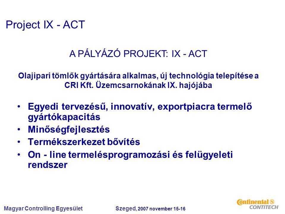 Magyar Controlling Egyesület Szeged, 2007 november 15-16 Egyedi tervezésű, innovatív, exportpiacra termelő gyártókapacitás Minőségfejlesztés Termékszerkezet bővítés On - line termelésprogramozási és felügyeleti rendszer A PÁLYÁZÓ PROJEKT: IX - ACT Olajipari tömlők gyártására alkalmas, új technológia telepítése a CRI Kft.