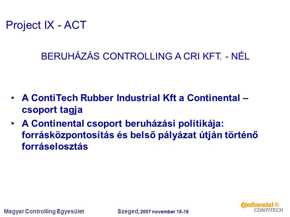 Magyar Controlling Egyesület Szeged, 2007 november 15-16 Project IX - ACT BERUHÁZÁS CONTROLLING A CRI KFT. - NÉL A ContiTech Rubber Industrial Kft a C