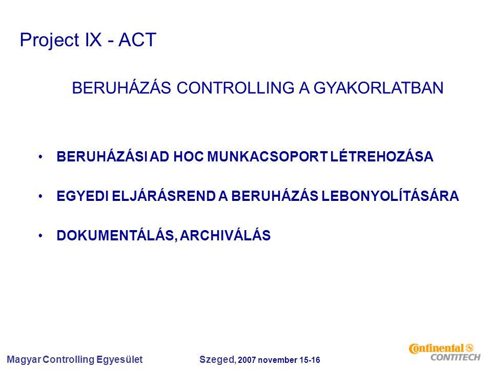 Magyar Controlling Egyesület Szeged, 2007 november 15-16 Project IX - ACT BERUHÁZÁS CONTROLLING A GYAKORLATBAN BERUHÁZÁSI AD HOC MUNKACSOPORT LÉTREHOZÁSA EGYEDI ELJÁRÁSREND A BERUHÁZÁS LEBONYOLÍTÁSÁRA DOKUMENTÁLÁS, ARCHIVÁLÁS