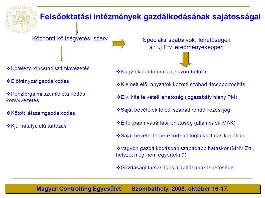 Magyar Controlling Egyesület Szombathely, 2008. október 16-17. Felsőoktatási intézmények gazdálkodásának sajátosságai Központi költségvetési szerv  