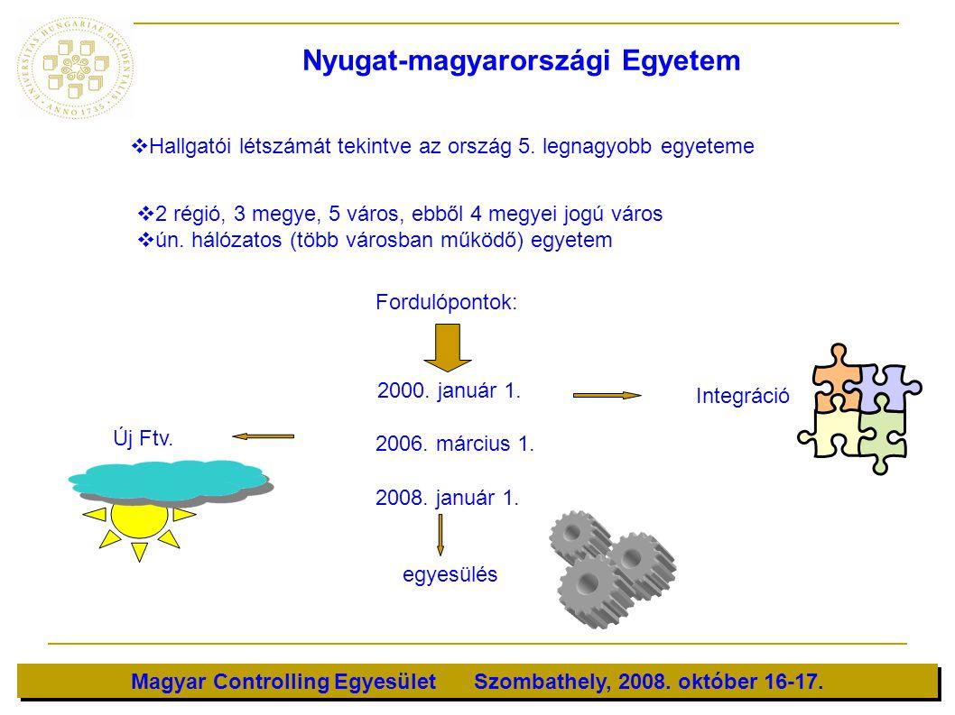 Magyar Controlling Egyesület Szombathely, 2008. október 16-17.   Hallgatói létszámát tekintve az ország 5. legnagyobb egyeteme   2 régió, 3 megye,
