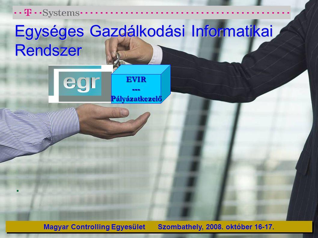 Egységes Gazdálkodási Informatikai Rendszer. Magyar Controlling Egyesület Szombathely, 2008. október 16-17. EVIR---Pályázatkezelő