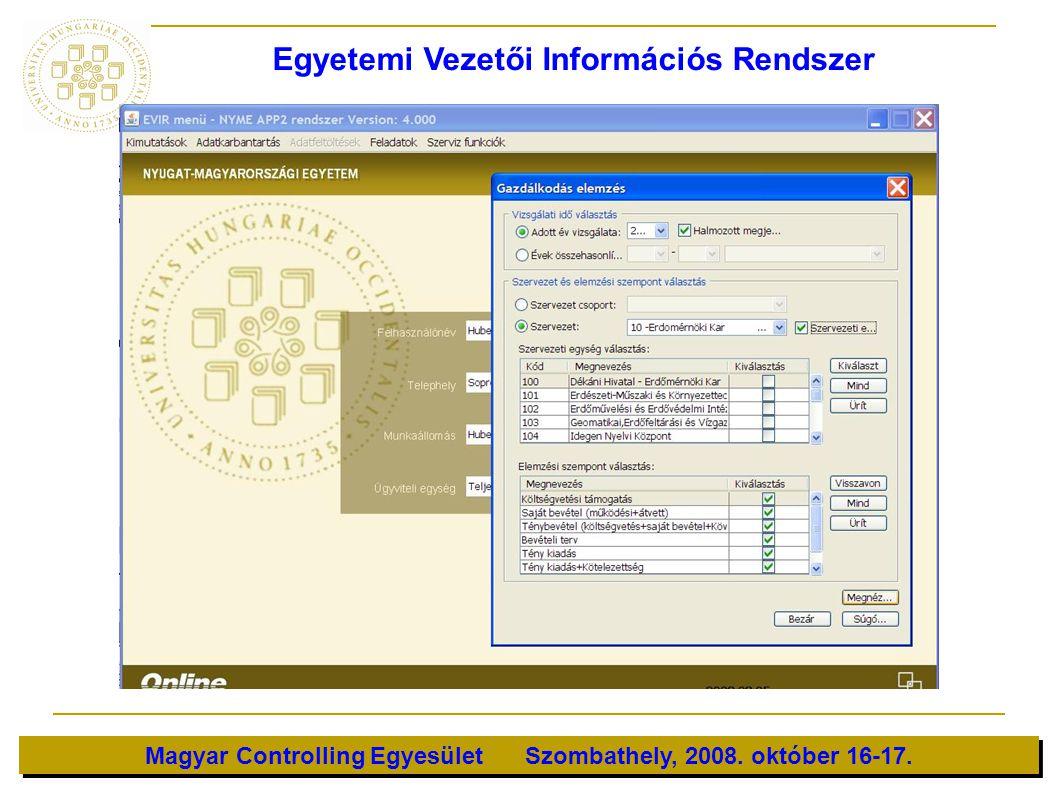 Magyar Controlling Egyesület Szombathely, 2008. október 16-17. Egyetemi Vezetői Információs Rendszer