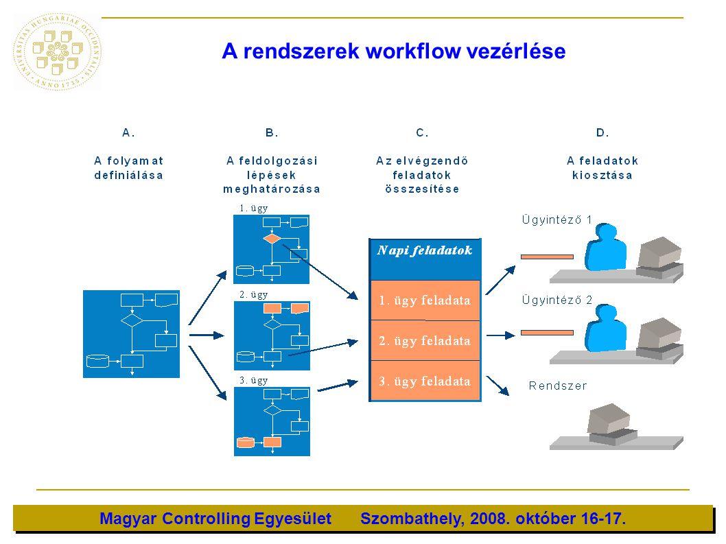 Magyar Controlling Egyesület Szombathely, 2008. október 16-17. A rendszerek workflow vezérlése