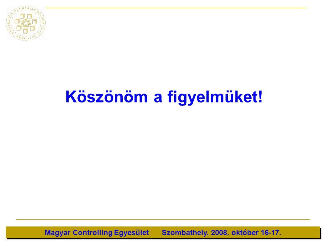 Magyar Controlling Egyesület Szombathely, 2008. október 16-17. Köszönöm a figyelmüket!