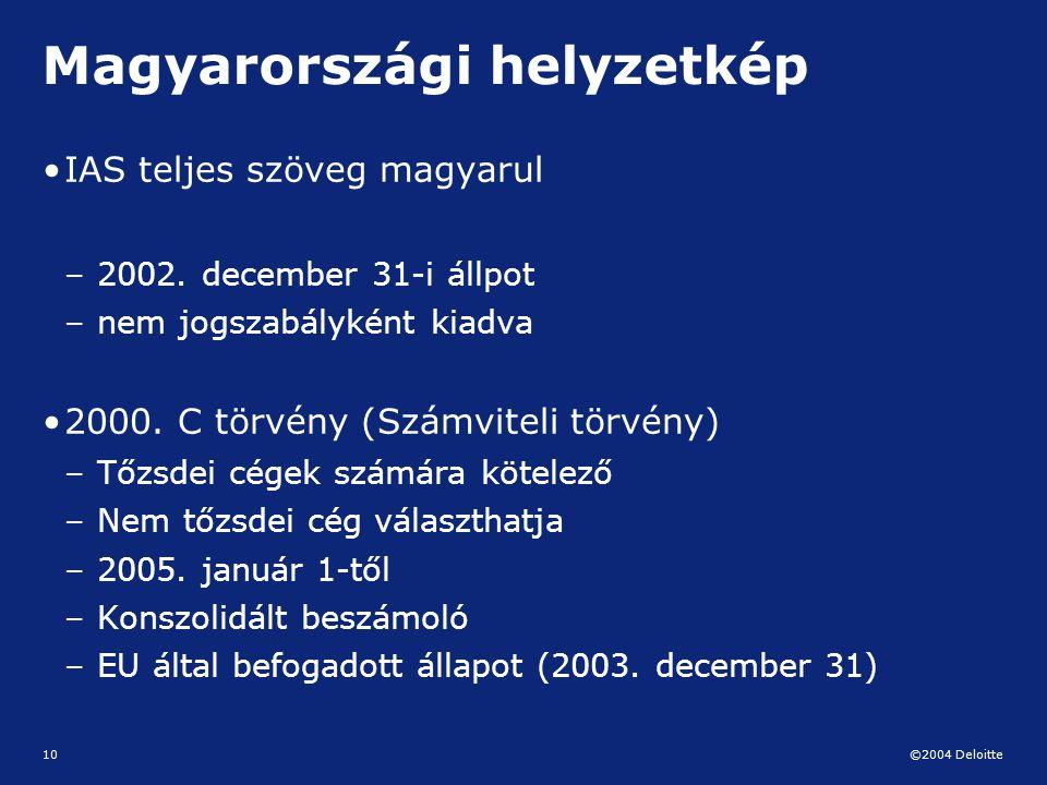 ©2004 Deloitte 10 Magyarországi helyzetkép IAS teljes szöveg magyarul – 2002. december 31-i állpot – nem jogszabályként kiadva 2000. C törvény (Számvi