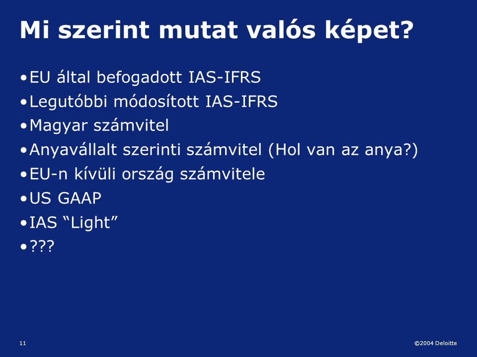 ©2004 Deloitte 11 Mi szerint mutat valós képet? EU által befogadott IAS-IFRS Legutóbbi módosított IAS-IFRS Magyar számvitel Anyavállalt szerinti számv