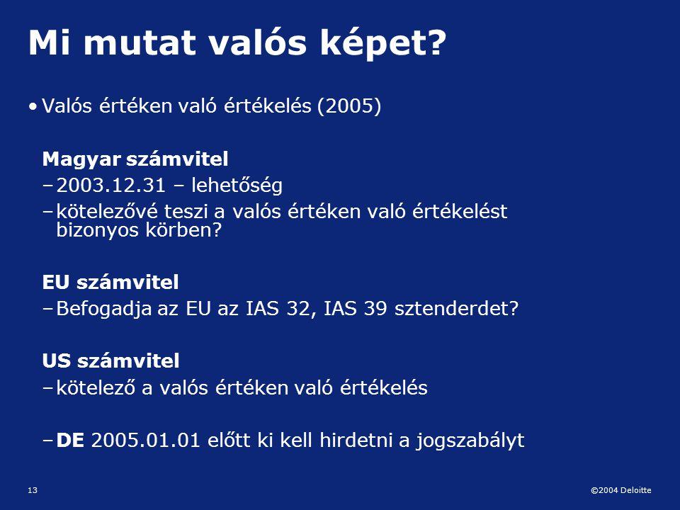 ©2004 Deloitte 13 Mi mutat valós képet? Valós értéken való értékelés (2005) Magyar számvitel –2003.12.31 – lehetőség –kötelezővé teszi a valós értéken