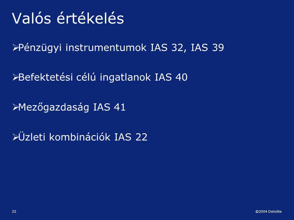 ©2004 Deloitte 22 Valós értékelés  Pénzügyi instrumentumok IAS 32, IAS 39  Befektetési célú ingatlanok IAS 40  Mezőgazdaság IAS 41  Üzleti kombiná