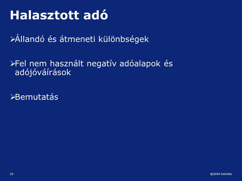 ©2004 Deloitte 23 Halasztott adó  Állandó és átmeneti különbségek  Fel nem használt negatív adóalapok és adójóváírások  Bemutatás