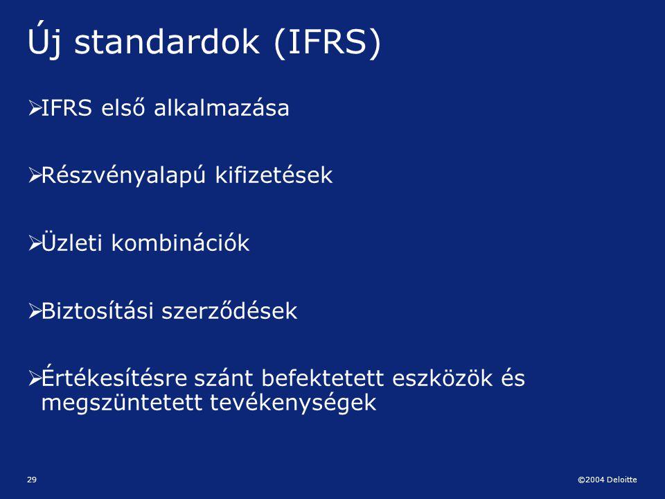 ©2004 Deloitte 29 Új standardok (IFRS)  IFRS első alkalmazása  Részvényalapú kifizetések  Üzleti kombinációk  Biztosítási szerződések  Értékesíté