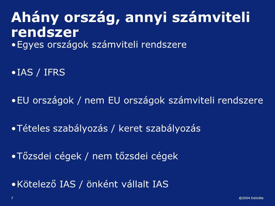 ©2004 Deloitte 7 Ahány ország, annyi számviteli rendszer Egyes országok számviteli rendszere IAS / IFRS EU országok / nem EU országok számviteli rends