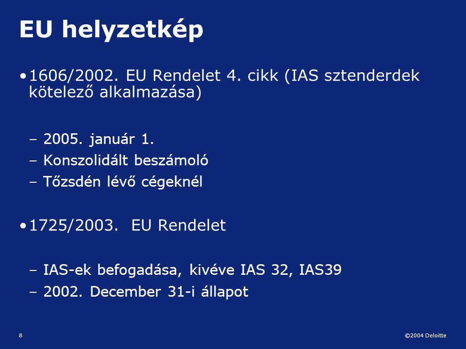 ©2004 Deloitte 8 EU helyzetkép 1606/2002. EU Rendelet 4. cikk (IAS sztenderdek kötelező alkalmazása) – 2005. január 1. – Konszolidált beszámoló – Tőzs