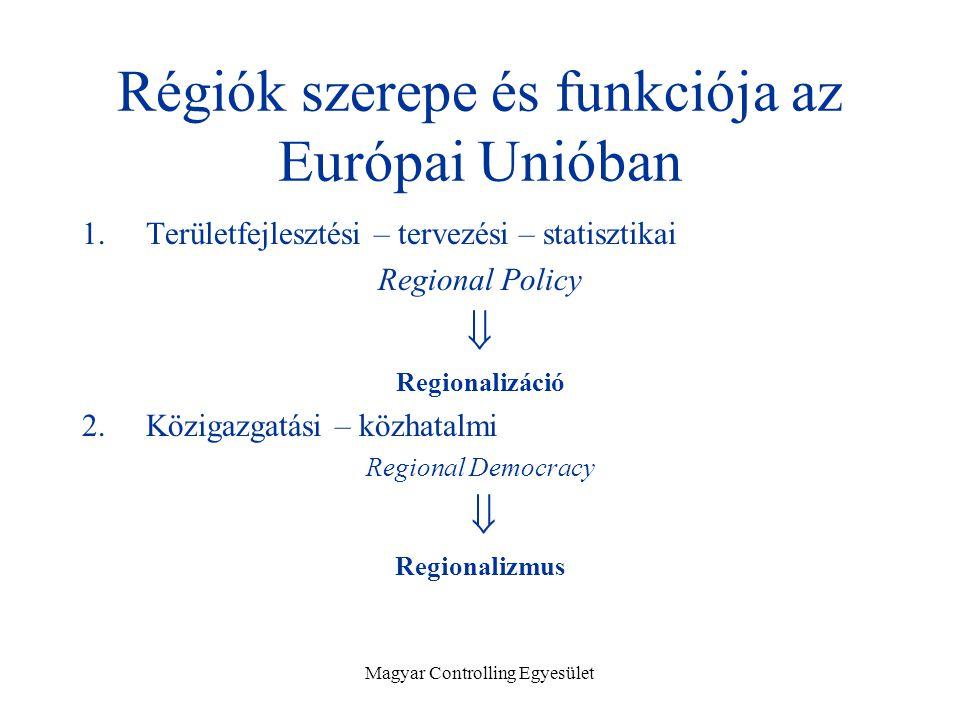 Magyar Controlling Egyesület Régiók szerepe és funkciója az Európai Unióban 1.Területfejlesztési – tervezési – statisztikai Regional Policy  Regionalizáció 2.Közigazgatási – közhatalmi Regional Democracy  Regionalizmus