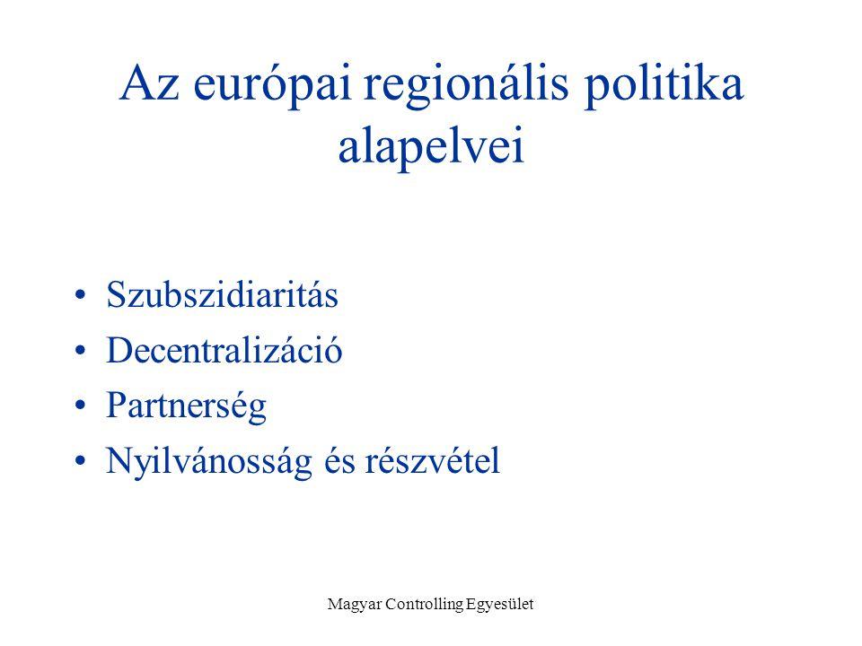 Magyar Controlling Egyesület Az európai regionális politika alapelvei Szubszidiaritás Decentralizáció Partnerség Nyilvánosság és részvétel