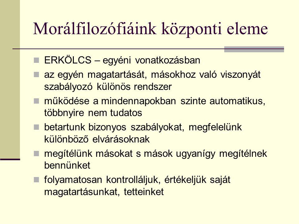 Morálfilozófiáink központi eleme ERKÖLCS – egyéni vonatkozásban az egyén magatartását, másokhoz való viszonyát szabályozó különös rendszer működése a